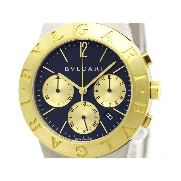 #BVLGARI Diagono Sport Chronograph 18K Gold Steel Watch CH35SG  #eLADY global offers free shipping worldwide. For more pre-owned luxury brand items, visit http://global.elady.com