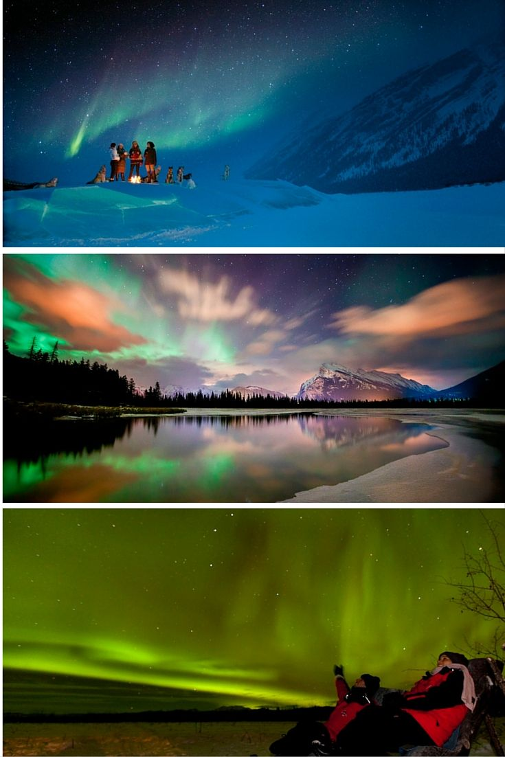 The Aurora Borealis in Canada: Top: Mushing in the Rockies with Ghosts of Fortune Mountain, Kananaskis Country, Spray Valley Provincial Park Middle: Vermillion Lakes, Banff National Park Bottom: Aurora spotting with Yukon Aurora Tours, Whitehorse, Yukon