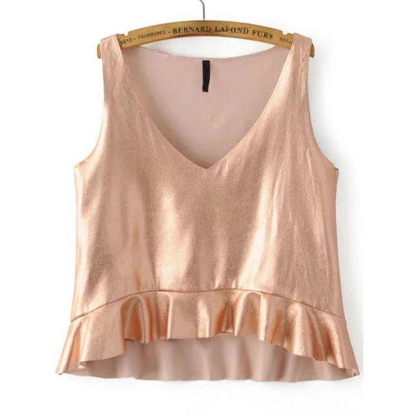 Rüschen Tank Top V-Ausschnitt -Rose gold ❤ liked on Polyvore featuring tops, shirts, beige top, beige tank top, beige shirt, shirt top and rose gold top