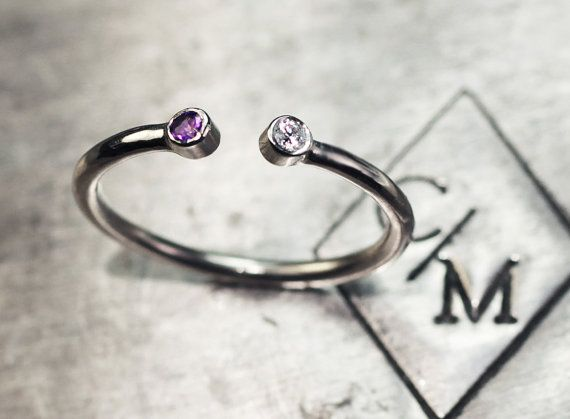 Birthstone Ring - WHITE Gold Dual Birthstone Ring in 14k- Choose your own diamonds and gemstones