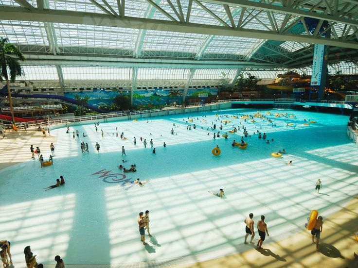 If indoor wave pools are your thing, you'll want to make a trip to [World Waterpark](http://www.wem.ca/play/attractions-at-wem/world-waterpark), located in the massive entertainment hub that is Alberta's West Edmonton Mall: it's got the largest indoor wave pool in the world. Its beachfront patio space is another reason to visit: private rentals are available to relax between water features, sans crowds.     **Related Articles**         * [Wild Waterpark Rides](http://www.cntraveler.com/...
