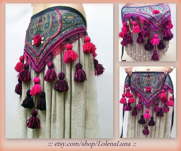 Unique handmade, Tribal belly dance Hip scarf US$55.00 + Shipping (US$10.00) #tribalbellydance #americantribalstyle