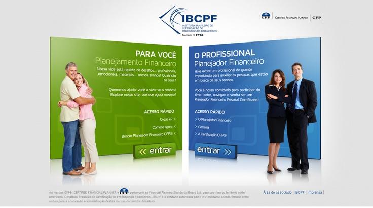 Site do IBCPF (Instituto Brasileiro de Certificação dos Profissionais Financeiros). Home segmentando dois tipos de públicos de interesse (2011).