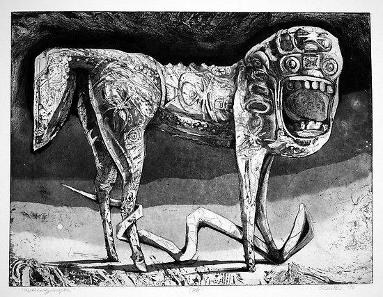 Asphinxohymenoptra, by Ralph D. Slatton  ---  print, etching, aquatint -- 18×24″