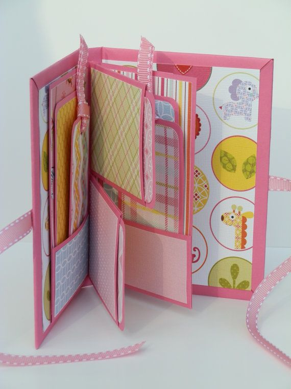 Scrapbook Mini Album Journal Photo Book, Girls Memory Album, Girls Baby Shower Gift Brag Book,