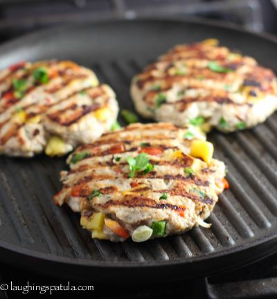 Tropical Chicken Burger with mango and jalapeno -- love that sweet-spicy combo. Sub sprouted-grain breadcrumbs, cooked quinoa or oats for the panko.
