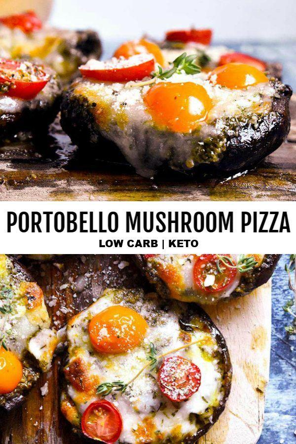 Portobello Mushroom Pizza   – Low Carb Snacks + Keto Snacks
