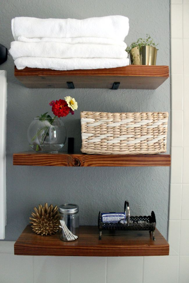 Floating shelves corner brace shelf brackets diy - Floating shelf ideas for bathroom ...