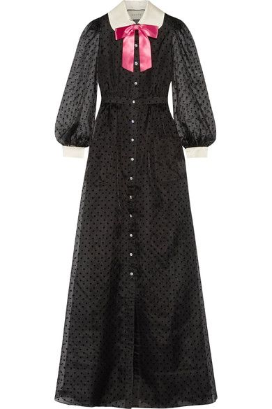 Gucci - Bow-embellished Flocked Silk-organza Gown - Black