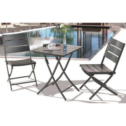 Royal Garden Aluminum 3 pc. Square Bistro Table Set - Black