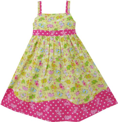 Girls Dress Yellow Elephant Wave Party Princess Kids Clothes Size 4-10 NWT