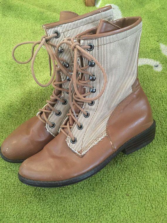 1990er Jahren viktorianischen Stil Lace Up Streifen Ankle