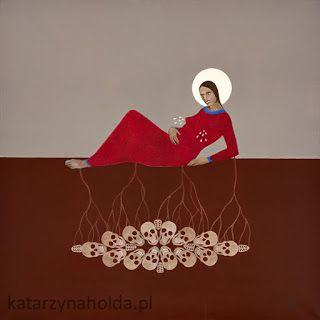 KATARZYNA HOŁDA, THE GARDEN (OGRÓD)  Acrylic on canvas, 80cmx 80cm, 2008/9. More art by K. Hołda on katarzynaholda.pl Prints on: http://www.saatchiart.com/katarzynaholda