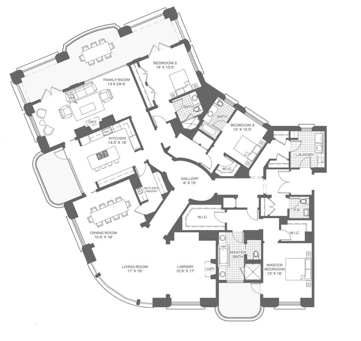5551 best images about floor plans on pinterest luxury - 4 bedroom apartments lakeview chicago ...