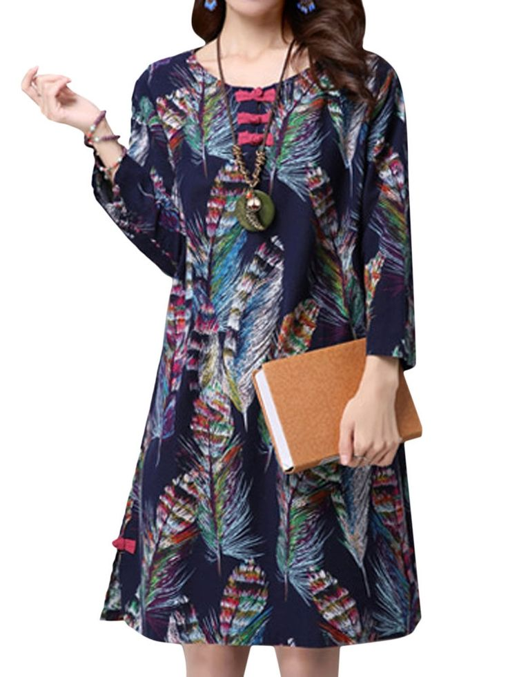 Specification    Dress Length: Knee-Length   Collar: O-Neck   Pattern: Printed   Material: Cotton,Polyester   Color: Navy   Sleeve Length: Long Sleeve   Style: Casual   Season: Spring,Fall