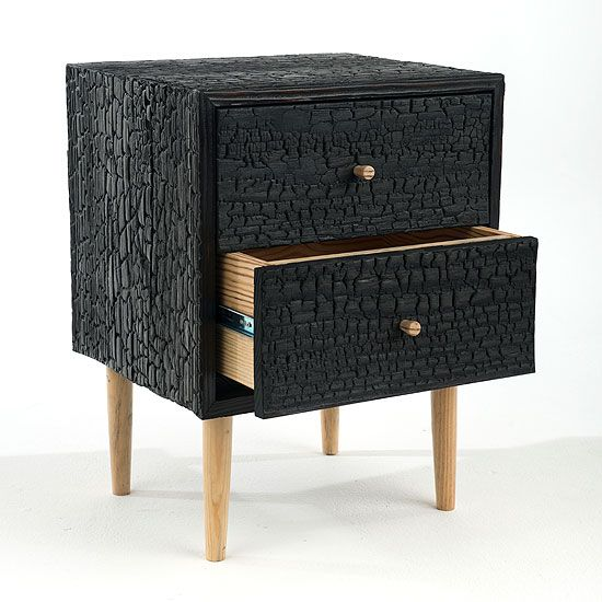 Charred Commode by Moran Woodworked Furniture Burned, wire brushed, then multiple coats of a clear zero VOC are applied, evolved from an ancient Japanese technique.