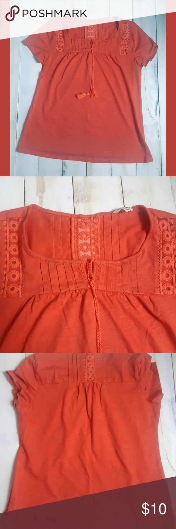 """Sonoma Large Top Ladies Orange Coral Short Sleeve Good overall condition. Size Large.  Chest: 20"""" Length: 23"""" Sonoma Tops Blouses"""