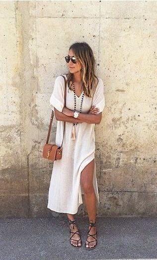 White Draped Slit Side V-neck Elbow Sleeve Casual Maxi Dress