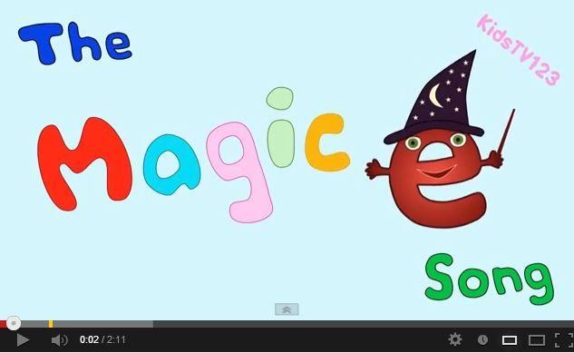The Magic E Song This is a great video to review how silent e (Magic e) at the end of a word changes the vowel sound from short to long. The song reads several words without silent e, and then with silent e to teach how the vowel sound changes. This song will help children read silent e words like a pro!
