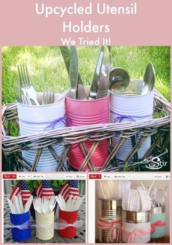 How to Make Upcycled Utensil Holders With Soup Cans: Upcycled Things, Utensils Holders, Crafts Ideas, Reuse, Diy Utensils, Upcycled Utensils, 1St Birthday, Crafts Diy, Diy Crafty