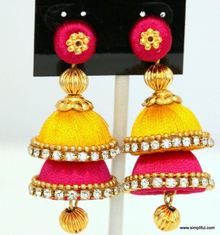 Silk Thread Double Layer Jhumka Earring - Simpliful