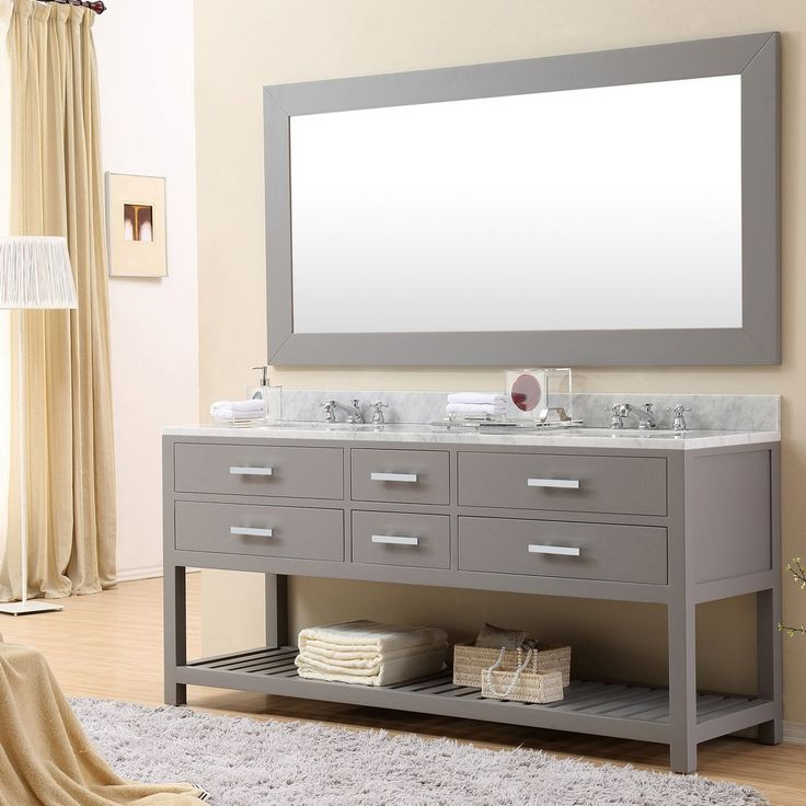 "Madalyn 72"" Cashmere Grey Double Sink Bathroom Vanity With Matching Large Framed Mirror"