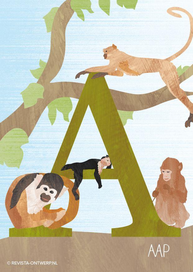 De A van aap. Dit keer een illustratie van allerlei verschillende aapjes in de boom. Een vrolijke boel zo bij elkaar toch? Elke week een illustratie uit het alfabet voor kinderen: revista-ontwerp.nl