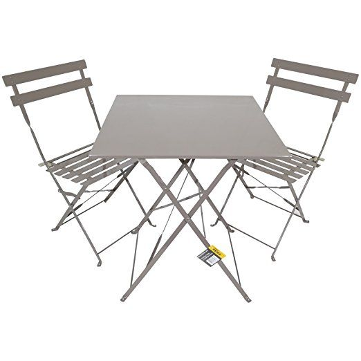 Mocha 3 Piece Folding Metal Outdoor Patio Bistro Set Garden Furniture Seating