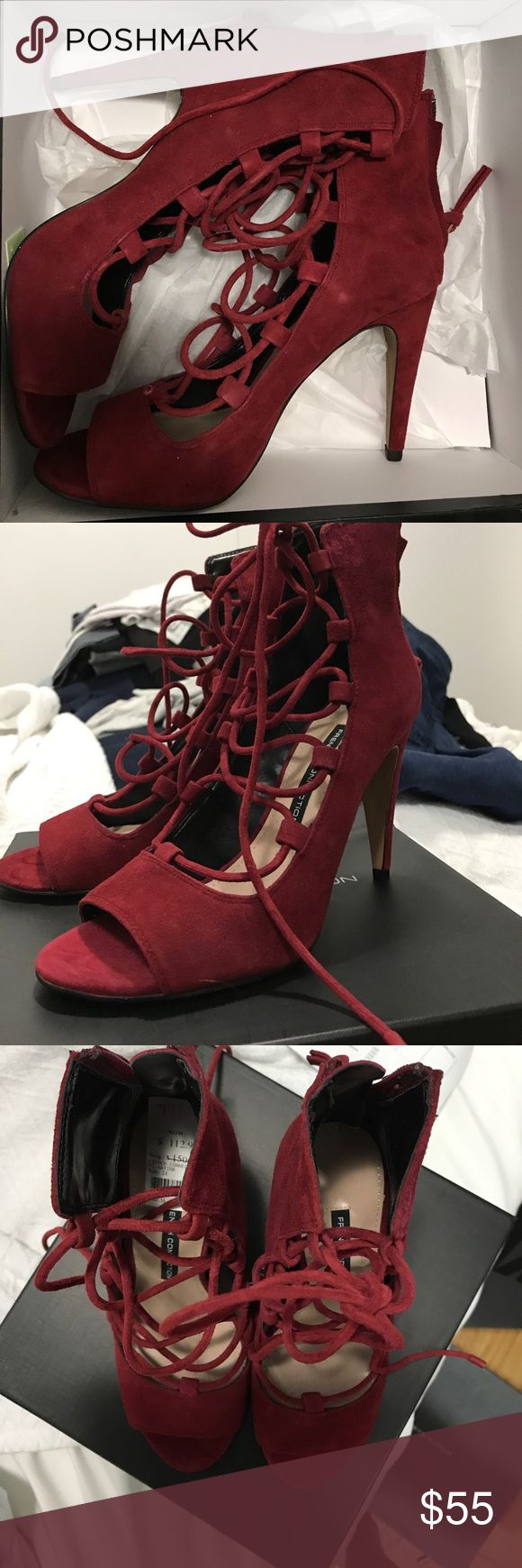 """French Connection Narina Red Suede Heels Never worn! New with tags and comes in box. Bought on sale from Bloomingdales for $113. Beautiful """"runway red"""" color. Suede. Pristine condition. Runs true to size. French Connection Shoes Heels"""