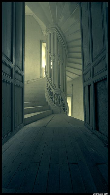 Winding stairs--I used to dream about hallways and library spaces a lot. This is just like my dream!