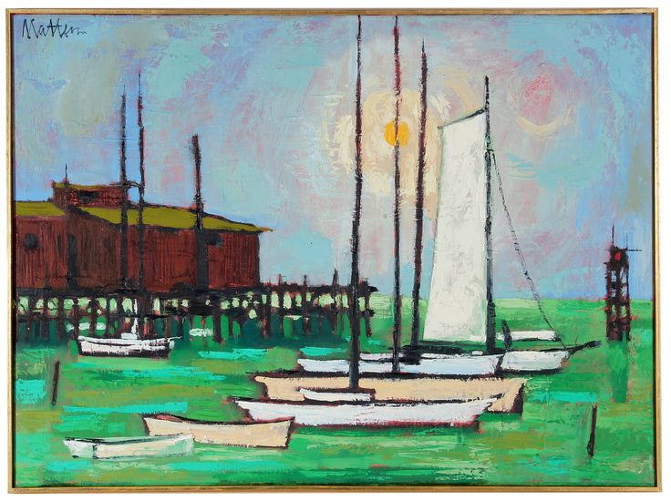 Monterey Harbor, 1967 by Rip Matteson Artist Uses outlines of Black in this delightful painting of #Monterey CA