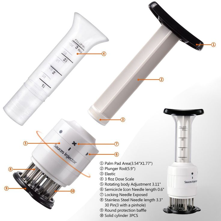 Meat Tenderizer Needle 30 Stainless Steel(3 injection needle pinhole) Blade and Meat Injector 3 Oz Marinade Flavor Syringe