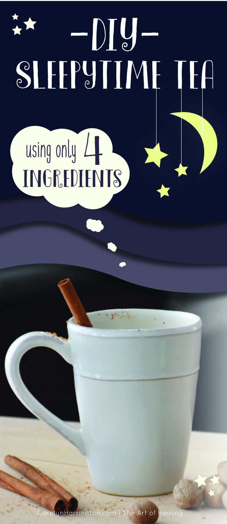 Easy DIY nighttime tea recipe using chamomile and nutmeg. http://teapause.com/healthiest-teas-to-drink/best-tea-for-a-cold-and-sore-throat/