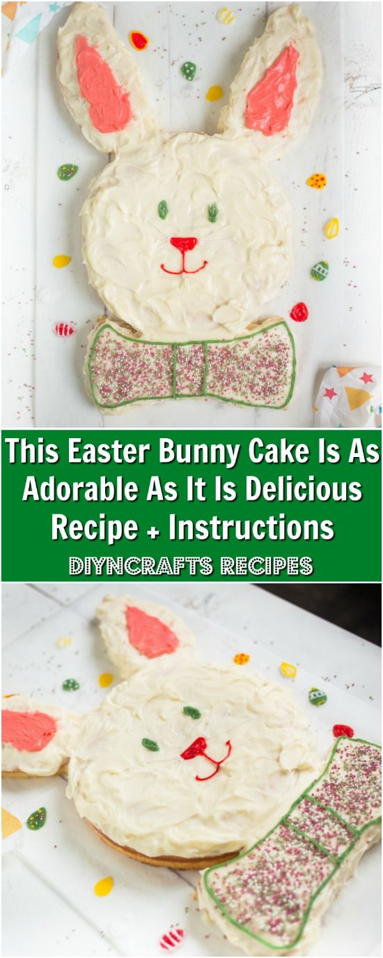 This Easter Bunny Cake Is As Adorable As It Is Delicious - Recipe + Instructions. Photos and recipe by diyncrafts.com team! <3 via @vanessacrafting