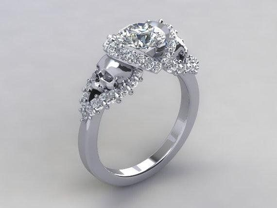 The Temple of The Ancient Dragon Presents  The Ultimate I LOVE SKULLS engagement ring. Solid PLATINUM with 1.5 VS Diamond Center