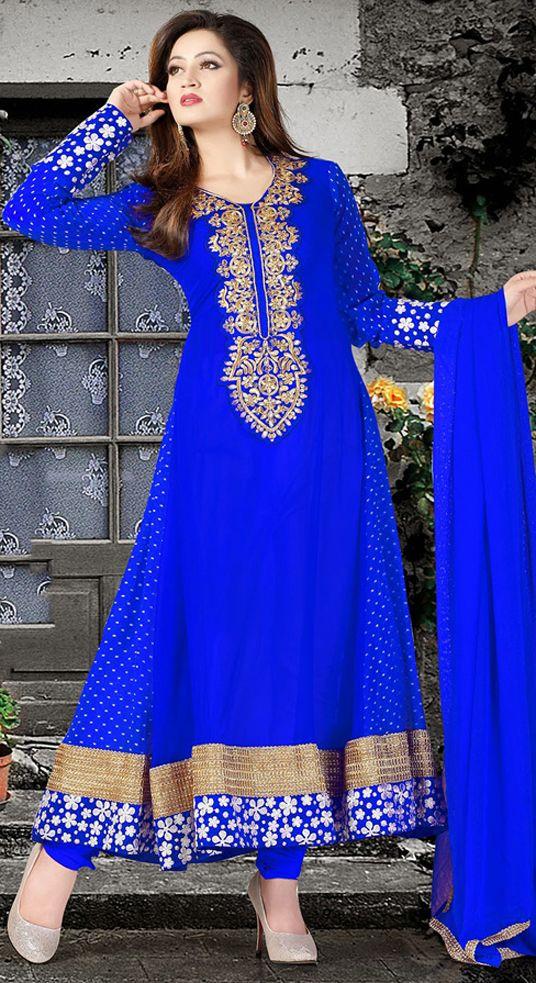 Blue Resham Work Georgette Long Anarkali Suit 39467