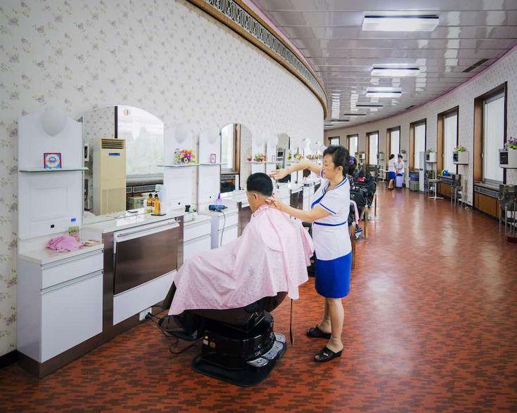 Barbershop inside Changgwang-won health complex, Pyongyang - Photo be Raphael Olivier.