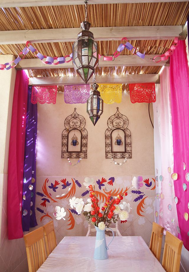 Creating The Illusion Of A Sukkah By Hanging Fabric Bedsheets Cheap Shower Curtains Around