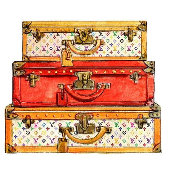 Watercolor Louis Vuitton Travel Trunks Multicolor Print. $10.00