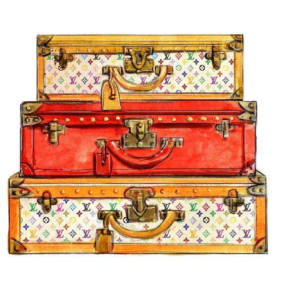 Watercolor Louis Vuitton Travel Trunks by LadyGatsbyLuxePaper
