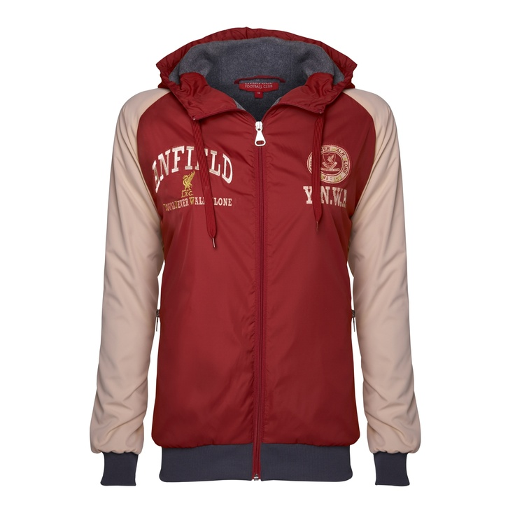 Ladies Noblesse Jacket  Vintage red hooded jacket with chalk sleeves and charcoal trims lined in charcoal micro fleece. Chest appliques are printed in chalk and embroidered in gold and chalk. Branded front and pocket zips.  £50