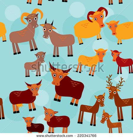 Set of funny animals with cubs. Goats, sheep, cows, deer seamless pattern on a blue background. vector - stock vector