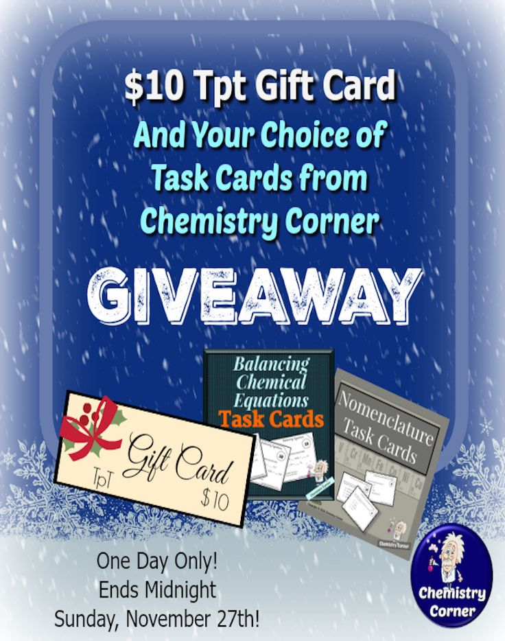 From Chemistry Corner! One Day Only! Click for details.