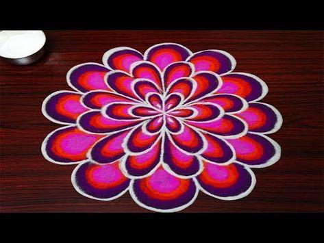 simple rangoli designs with 5x3 dots || beautiful kolam designs || latest muggulu designs - YouTube