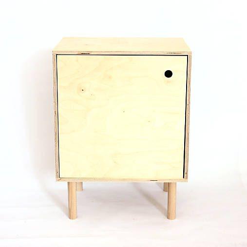 retro-design / Skrinka/ Nočný stolík z brezovej preglejky
