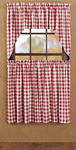 Exceptional Buffalo Red Check Lined Swag Curtains