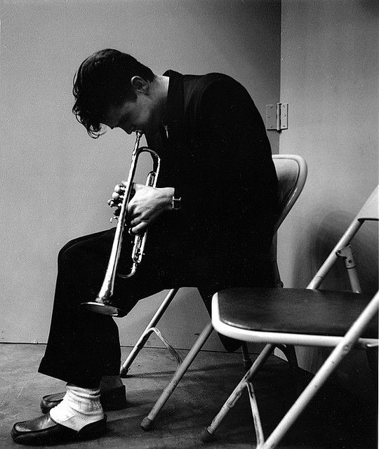 Chet Baker (trumpet towards floor) Los Angeles record session, 1953 • Photographed by Bob Willoughby