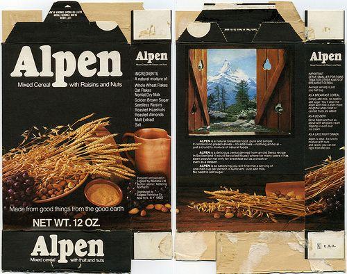 Alpen cereal box - 1973 by JasonLiebig, via Flickr