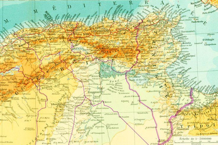 1950 Carte Afrique duNord, Sahara, Atlas, Maroc, Mauritanie, Algerie, Tunusie, Planche Originale Atlas Geographie illustration Grand Format de la boutique sofrenchvintage sur Etsy