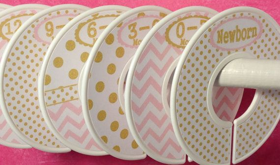 Custom Baby Closet Dividers Clothes Organizers Soft Light Pink and Gold with Dots Chevrons Baby Girl Shower Gift Nursery Decor on Etsy, $18.00